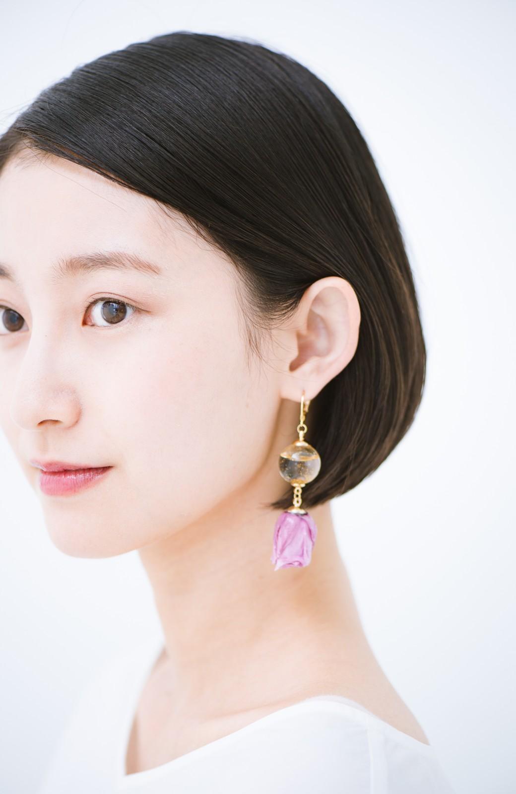 haco! てとひとて KANA MATSUNAMI  <GARDEN SERIES> 薔薇の蕾ピアス <パープル>の商品写真2
