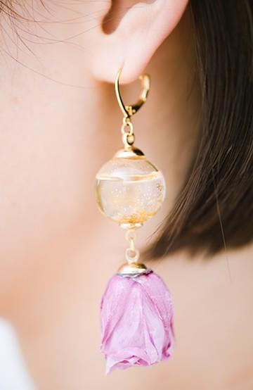 haco! てとひとて KANA MATSUNAMI  <GARDEN SERIES> 薔薇の蕾ピアス <パープル>の商品写真