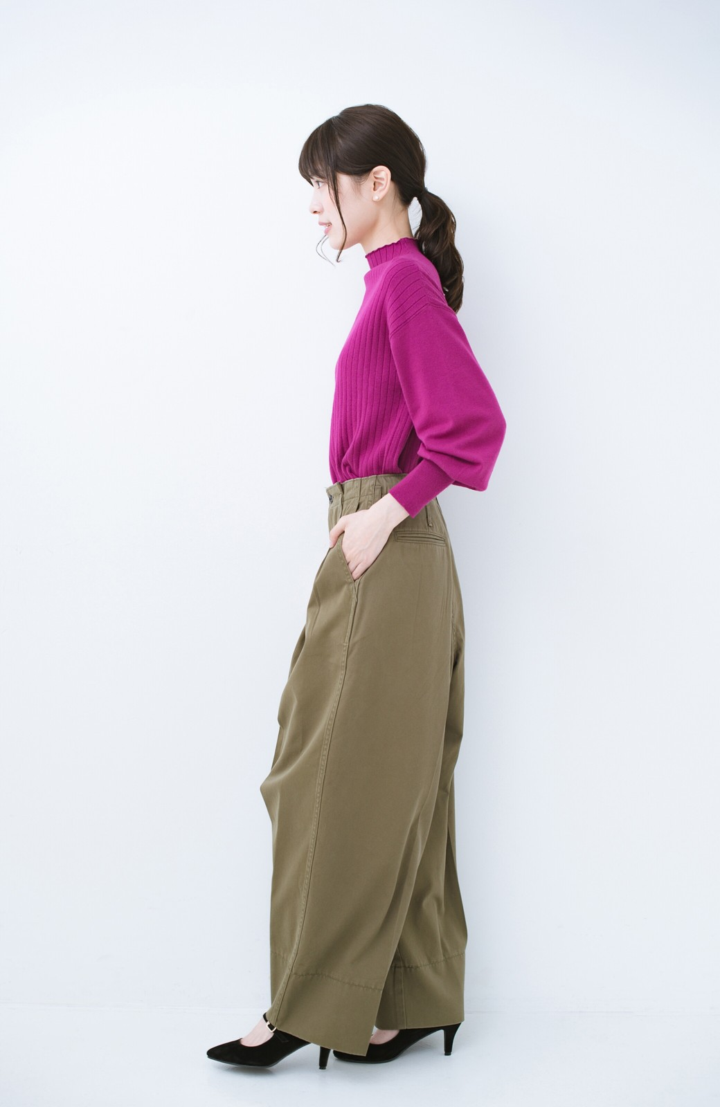 haco! Lady Lee リメイクデザインのワークトラウザーパンツ <オリーブ>の商品写真9