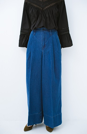 haco! Lady Lee リメイクデザインのワークトラウザーパンツ <ブルー>の商品写真