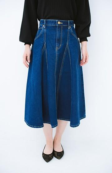haco! Lady Lee リメイクデザインのフレアースカート <インディゴブルー>の商品写真
