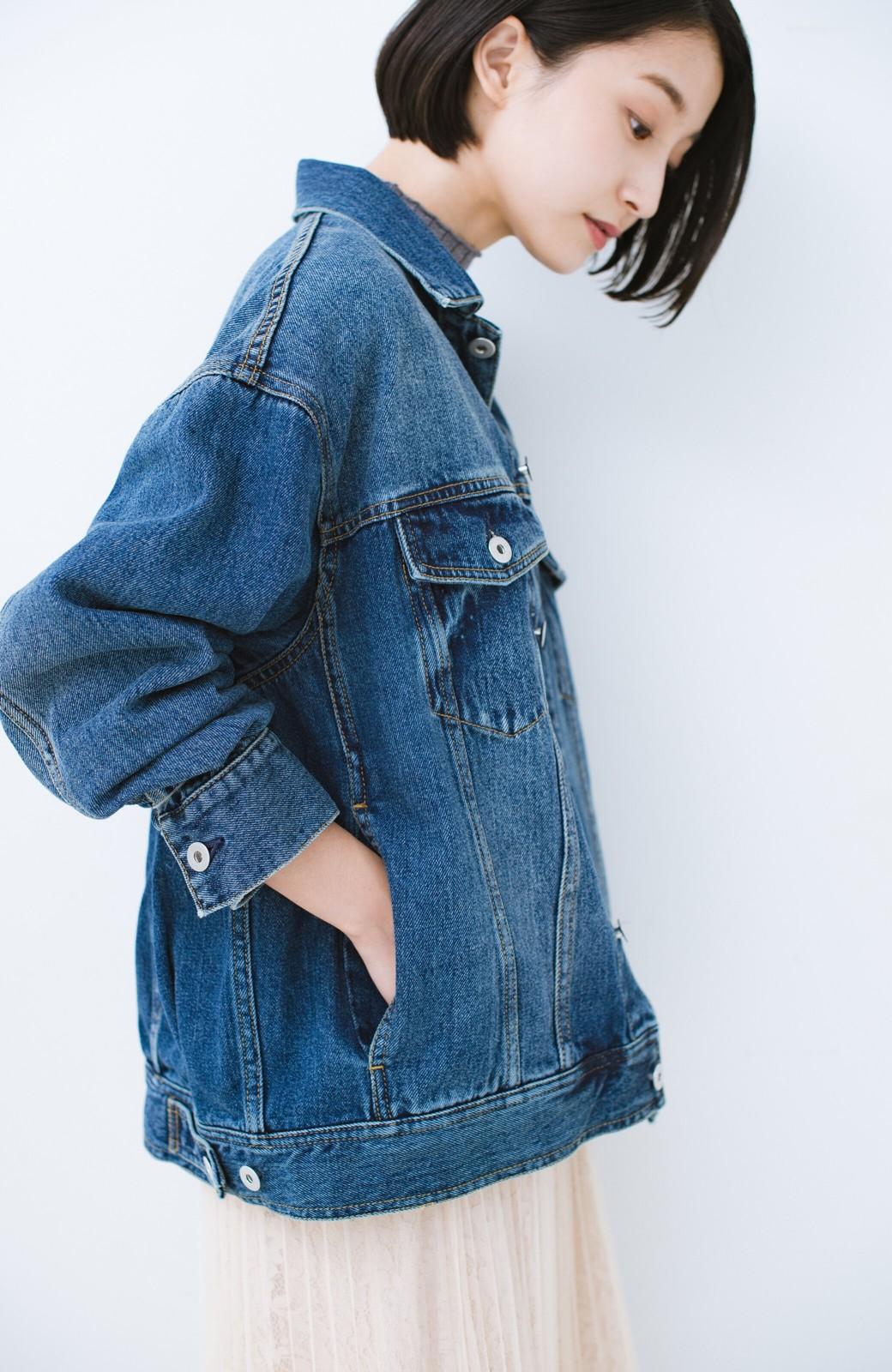 haco! こなれたシルエットがかなうオトナも着やすい大きめGジャン by MAKORI <インディゴブルー>の商品写真5