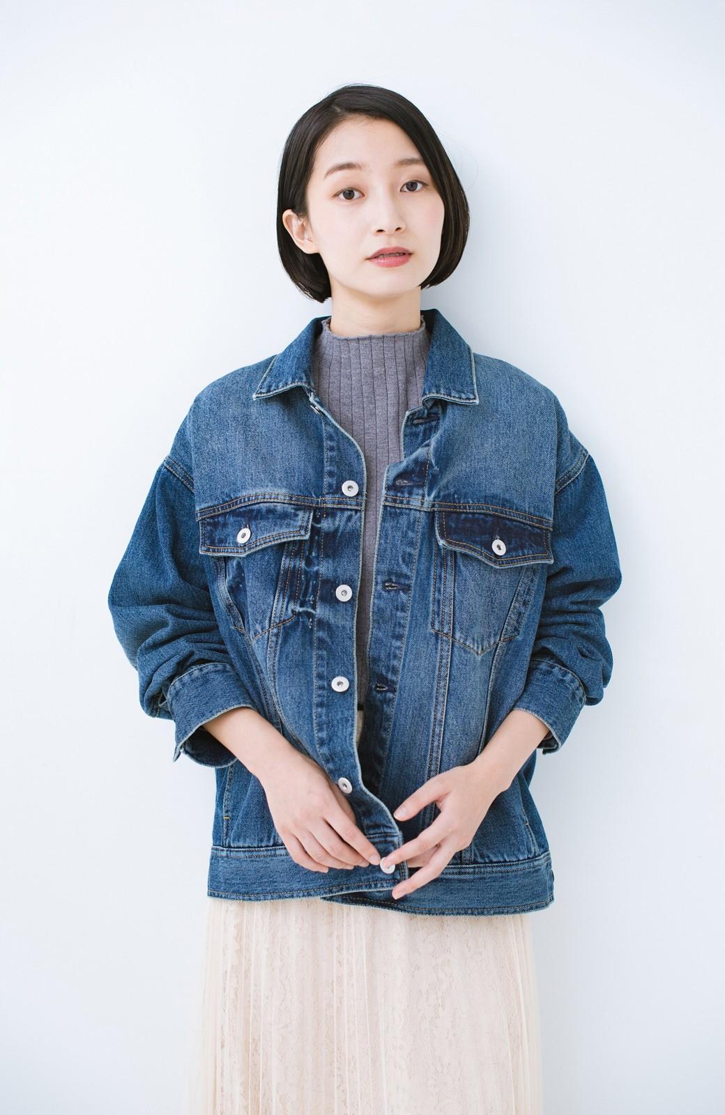 haco! こなれたシルエットがかなうオトナも着やすい大きめGジャン by MAKORI <インディゴブルー>の商品写真19