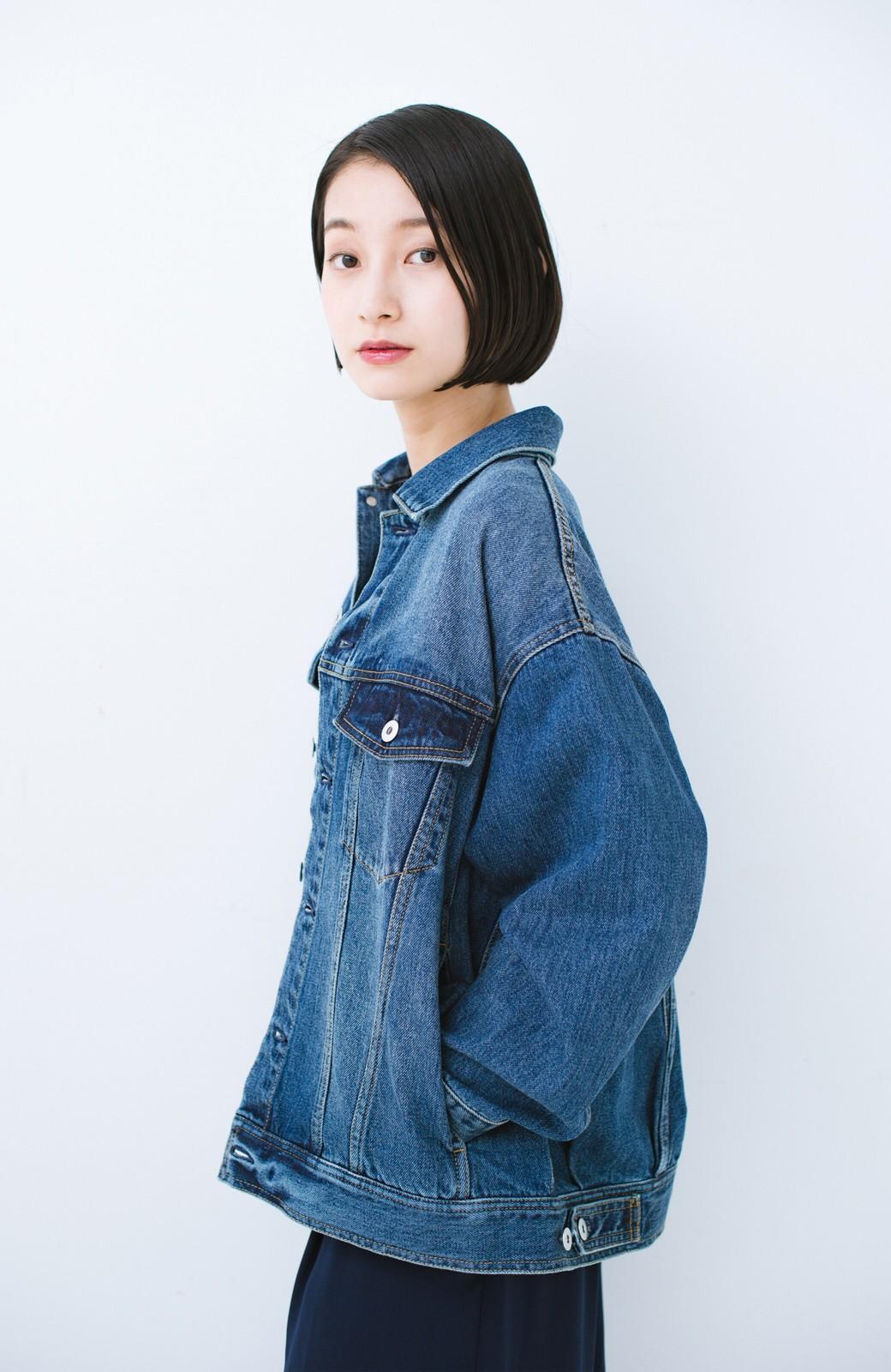 haco! こなれたシルエットがかなうオトナも着やすい大きめGジャン by MAKORI <インディゴブルー>の商品写真22