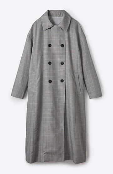 haco! 普段着の上にパッと羽織るだけでかっこよくなれる グレンチェックのトレンチコート <グレー系その他>の商品写真