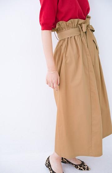 haco! パッと着てかわいい ウエストリボンの楽ちんスカート <ベージュ>の商品写真