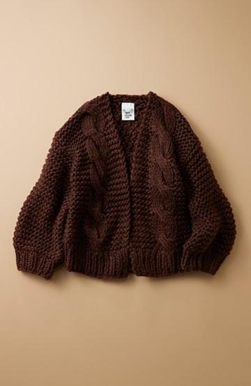 haco! お手軽羽織りにぴったりな 手編みのざっくりニットカーディガン by que made me <ブラウン>の商品写真