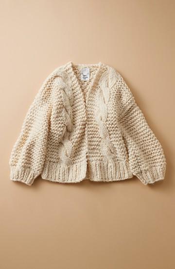 haco! お手軽羽織りにぴったりな 手編みのざっくりニットカーディガン by que made me <アイボリー>の商品写真