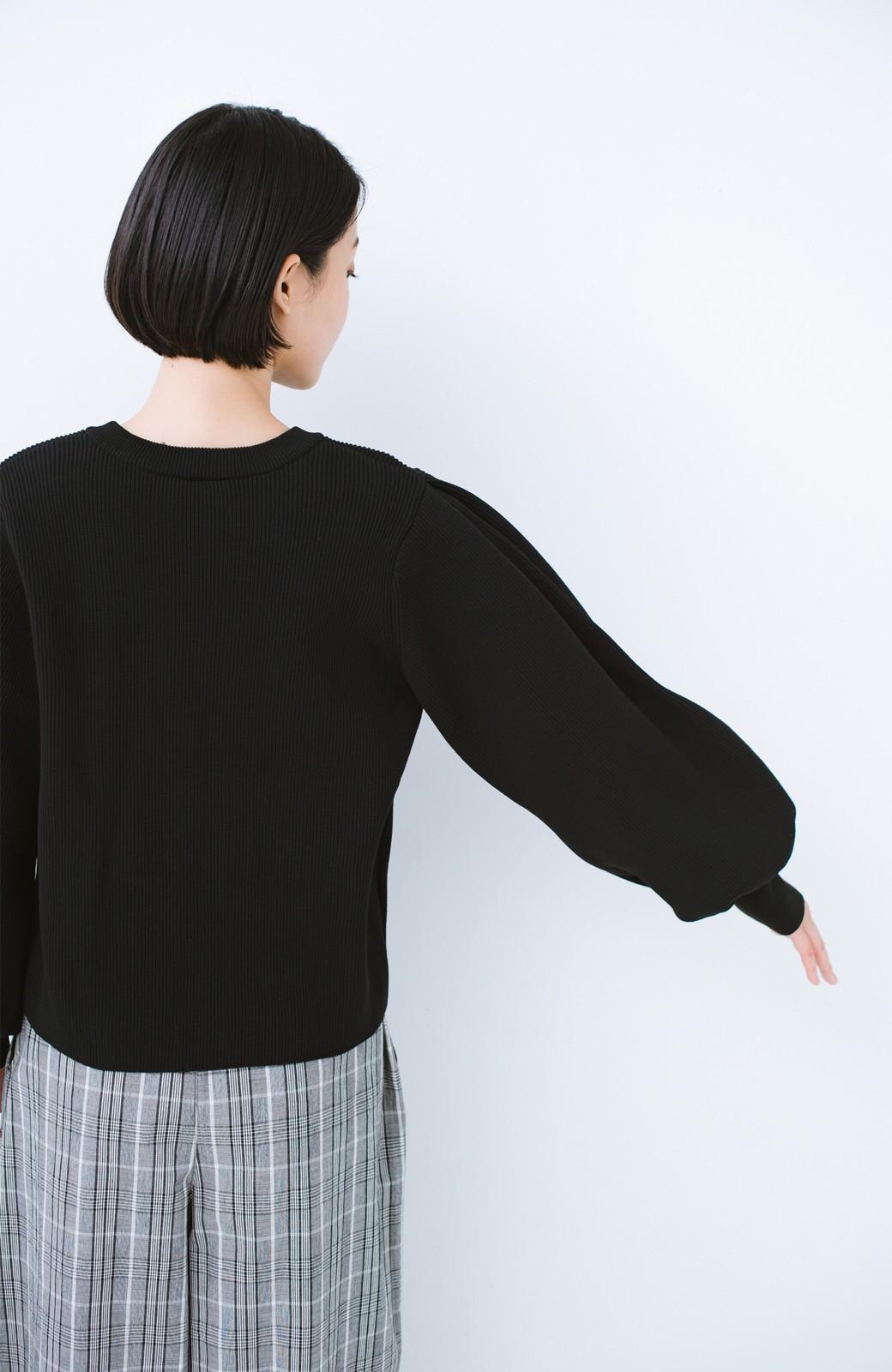 haco! パッと着てオシャレに見える! ボリューム袖がかわいいニット <ブラック>の商品写真11