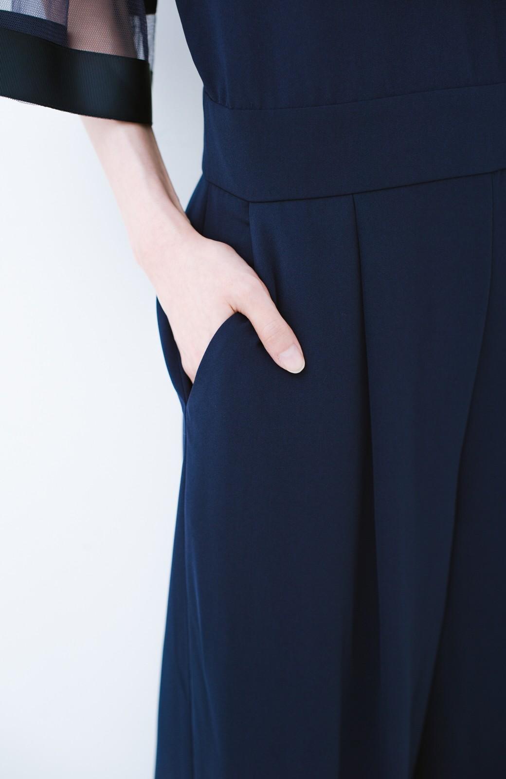 haco! 華やかシーンに浮かず埋もれず 袖チュール&リボンのきれいオールインワン <ネイビー>の商品写真7