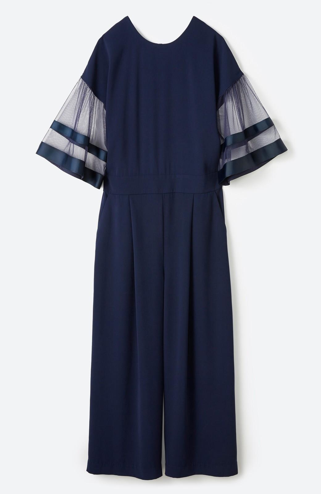 haco! 華やかシーンに浮かず埋もれず 袖チュール&リボンのきれいオールインワン <ネイビー>の商品写真2