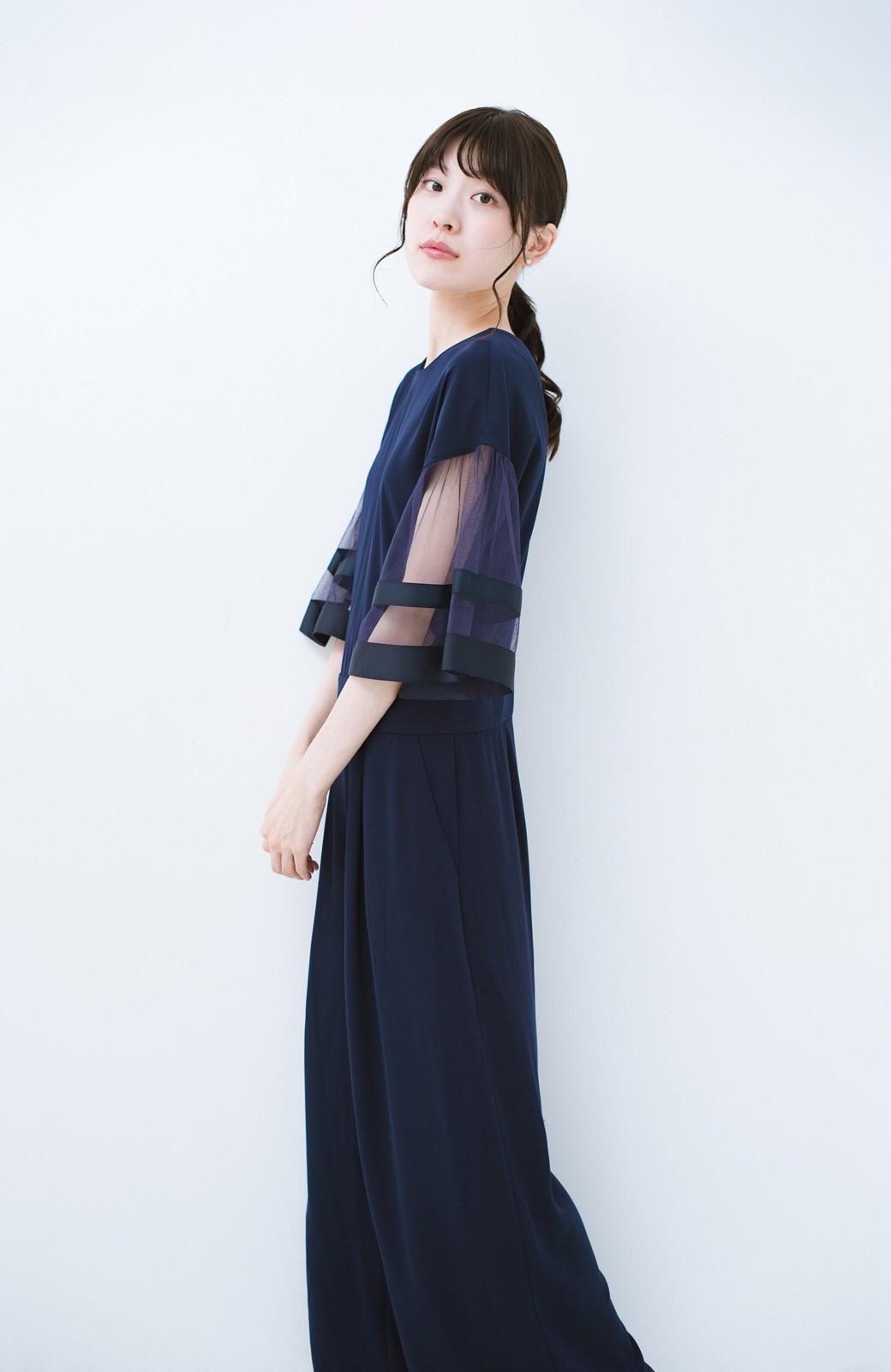 haco! 華やかシーンに浮かず埋もれず 袖チュール&リボンのきれいオールインワン <ネイビー>の商品写真12