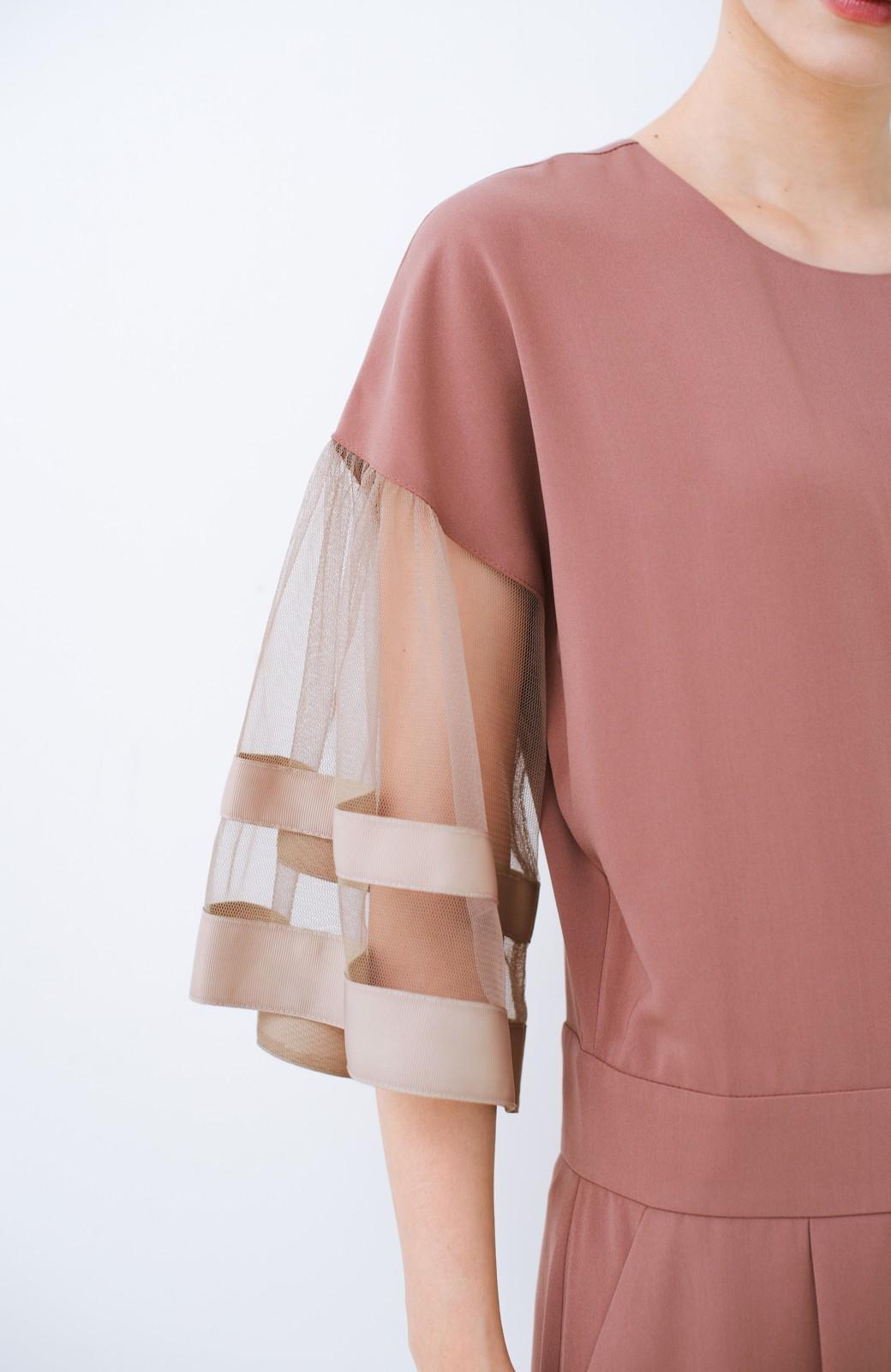 haco! 華やかシーンに浮かず埋もれず 袖チュール&リボンのきれいオールインワン <ピンク>の商品写真5