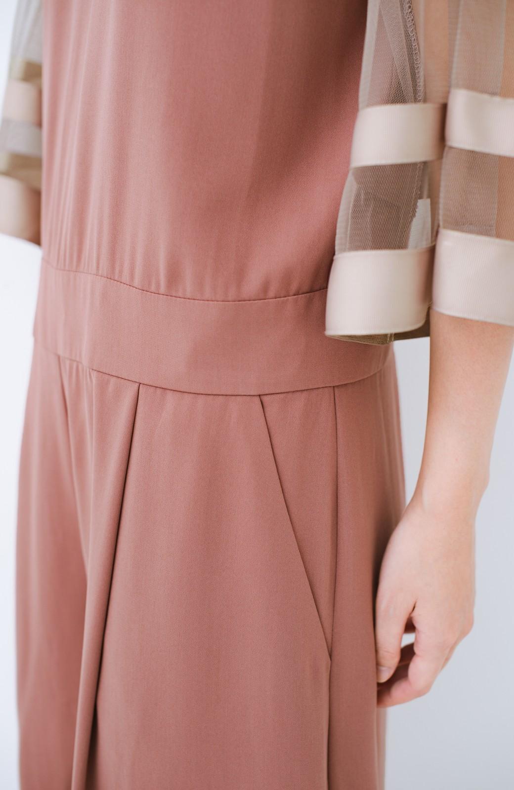 haco! 華やかシーンに浮かず埋もれず 袖チュール&リボンのきれいオールインワン <ピンク>の商品写真6