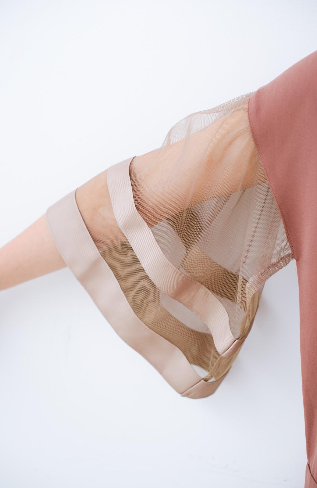 haco! 華やかシーンに浮かず埋もれず 袖チュール&リボンのきれいオールインワン <ピンク>の商品写真7