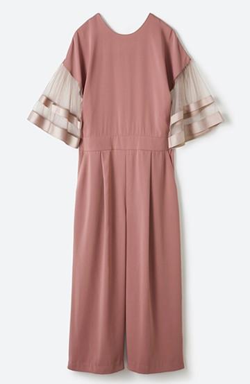 haco! 華やかシーンに浮かず埋もれず 袖チュール&リボンのきれいオールインワン <ピンク>の商品写真