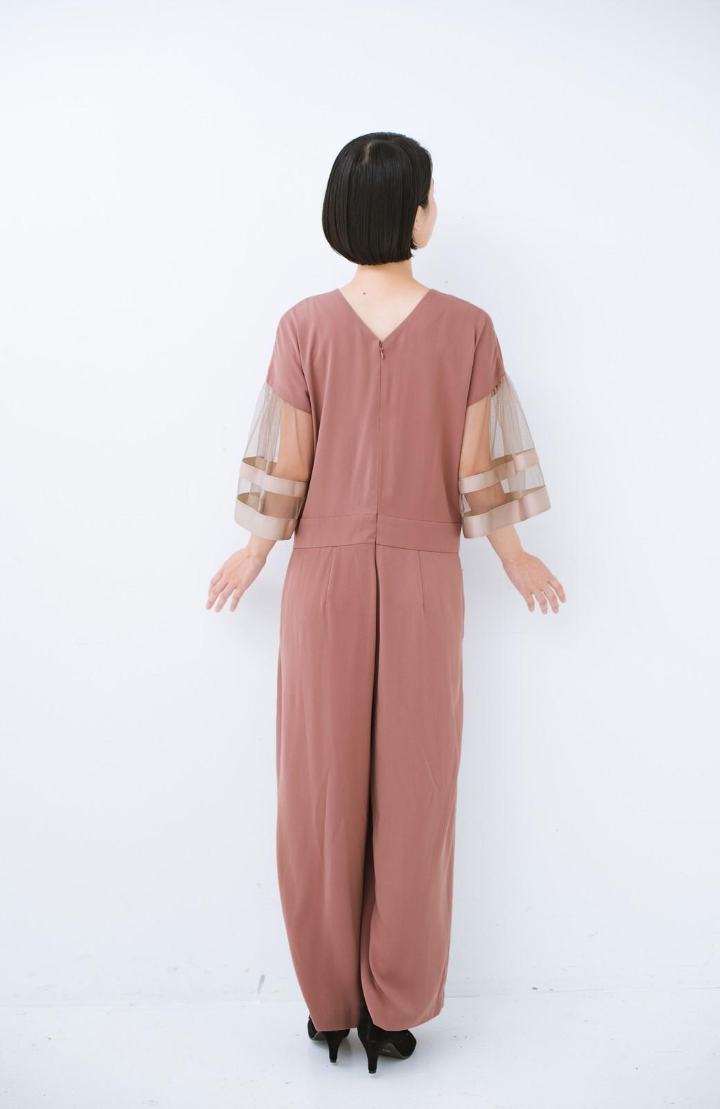 haco! 華やかシーンに浮かず埋もれず 袖チュール&リボンのきれいオールインワン <ピンク>の商品写真10