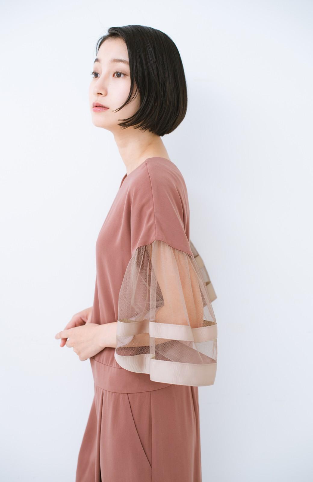 haco! 華やかシーンに浮かず埋もれず 袖チュール&リボンのきれいオールインワン <ピンク>の商品写真13