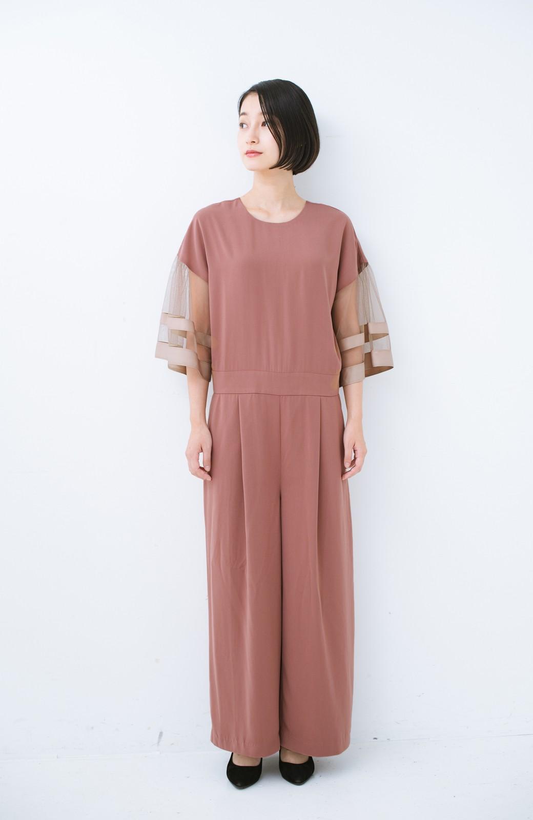 haco! 華やかシーンに浮かず埋もれず 袖チュール&リボンのきれいオールインワン <ピンク>の商品写真3