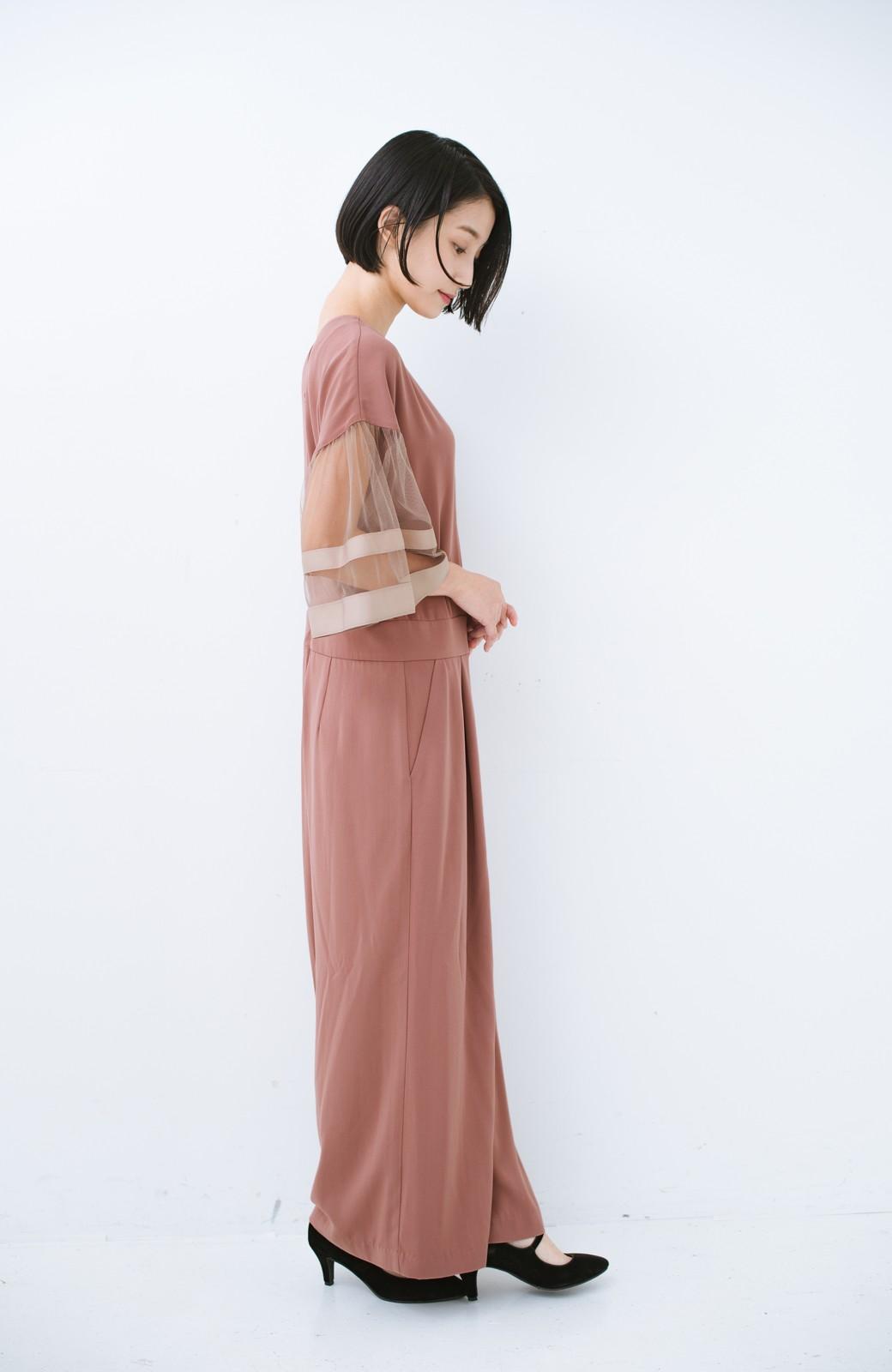 haco! 華やかシーンに浮かず埋もれず 袖チュール&リボンのきれいオールインワン <ピンク>の商品写真8