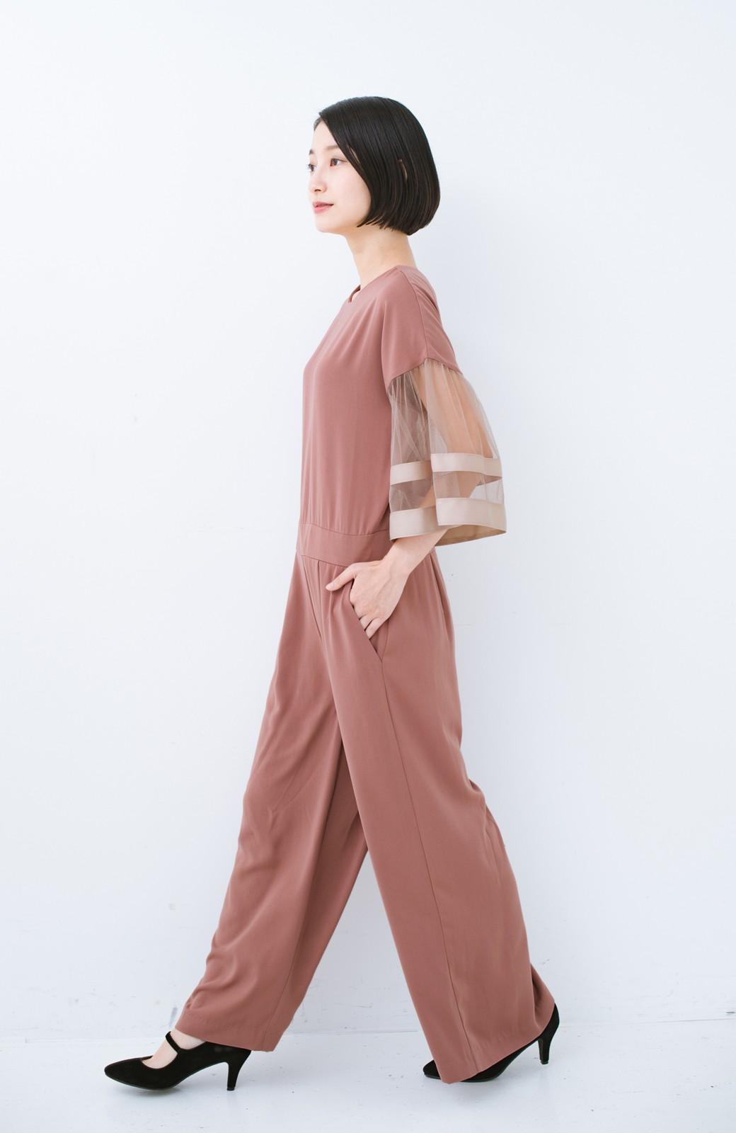 haco! 華やかシーンに浮かず埋もれず 袖チュール&リボンのきれいオールインワン <ピンク>の商品写真9