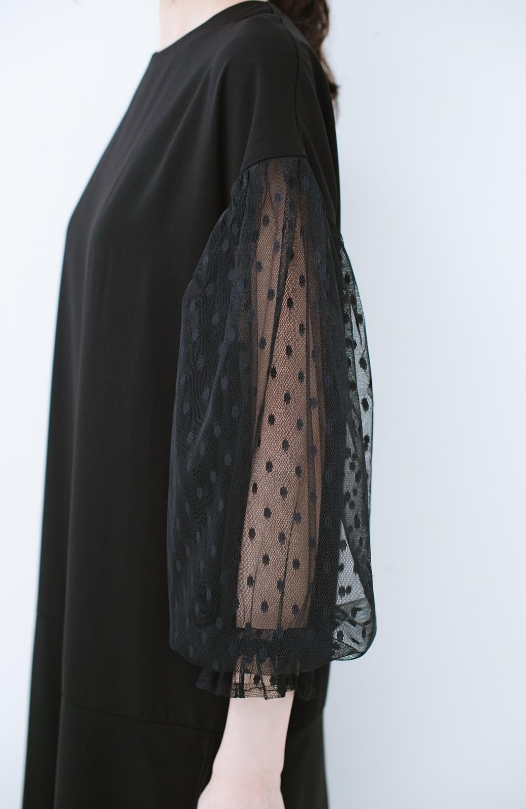 haco! 華やかシーンに浮かず埋もれず ドットチュールの透け袖がかわいい結婚式ワンピース <ブラック>の商品写真4