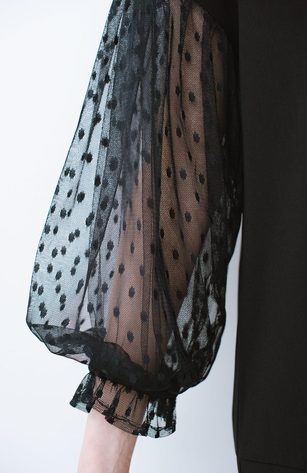 haco! 華やかシーンに浮かず埋もれず ドットチュールの透け袖がかわいい結婚式ワンピース <ブラック>の商品写真5