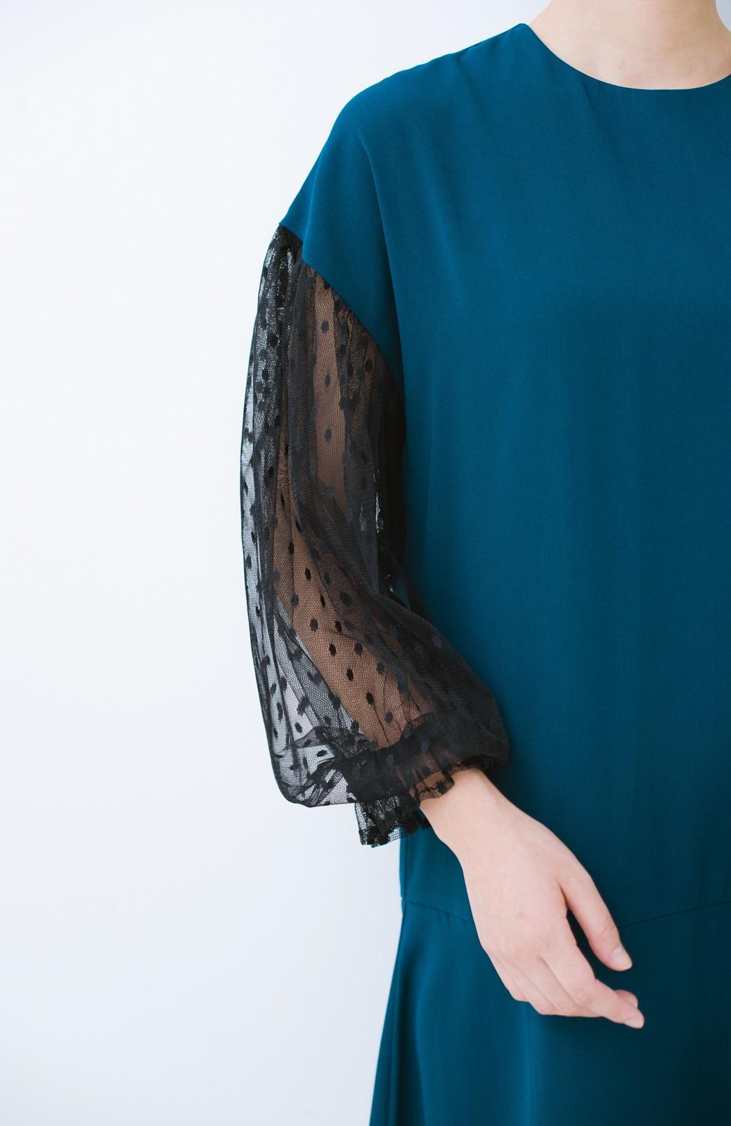 haco! 華やかシーンに浮かず埋もれず ドットチュールの透け袖がかわいい結婚式ワンピース <グリーン>の商品写真4