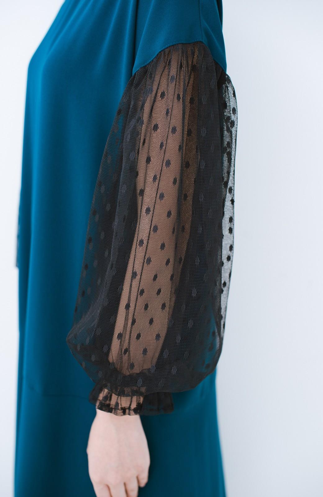 haco! 華やかシーンに浮かず埋もれず ドットチュールの透け袖がかわいい結婚式ワンピース <グリーン>の商品写真5