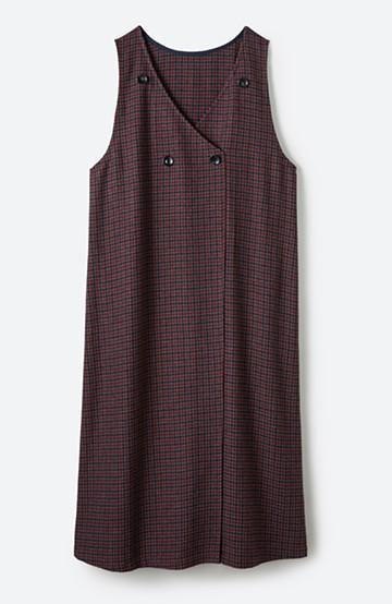haco! すぽっと着るだけで旬顔完成 千鳥柄のジャンパースカート <レッド系その他>の商品写真