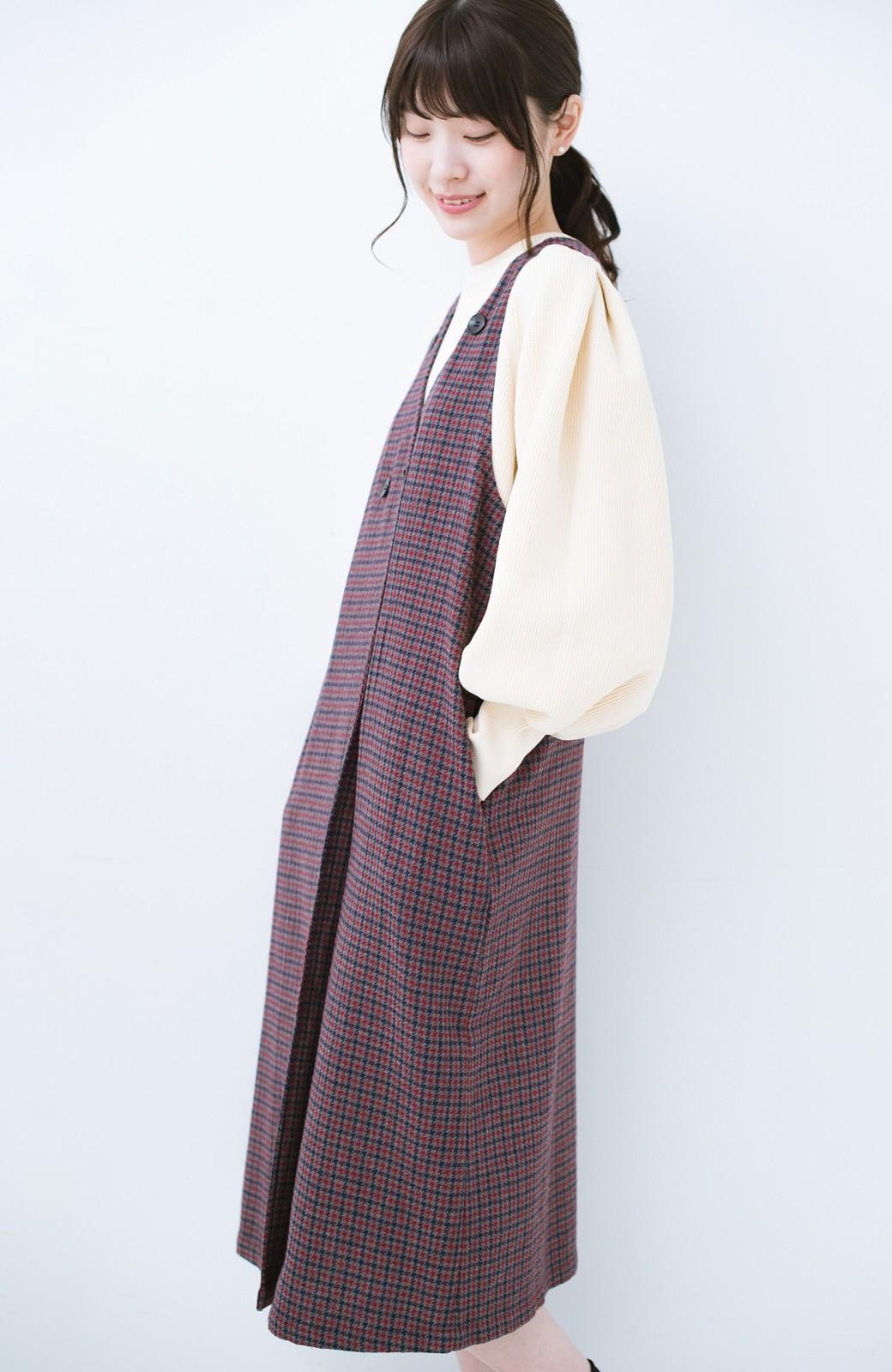 haco! すぽっと着るだけで旬顔完成 千鳥柄のジャンパースカート <レッド系その他>の商品写真3