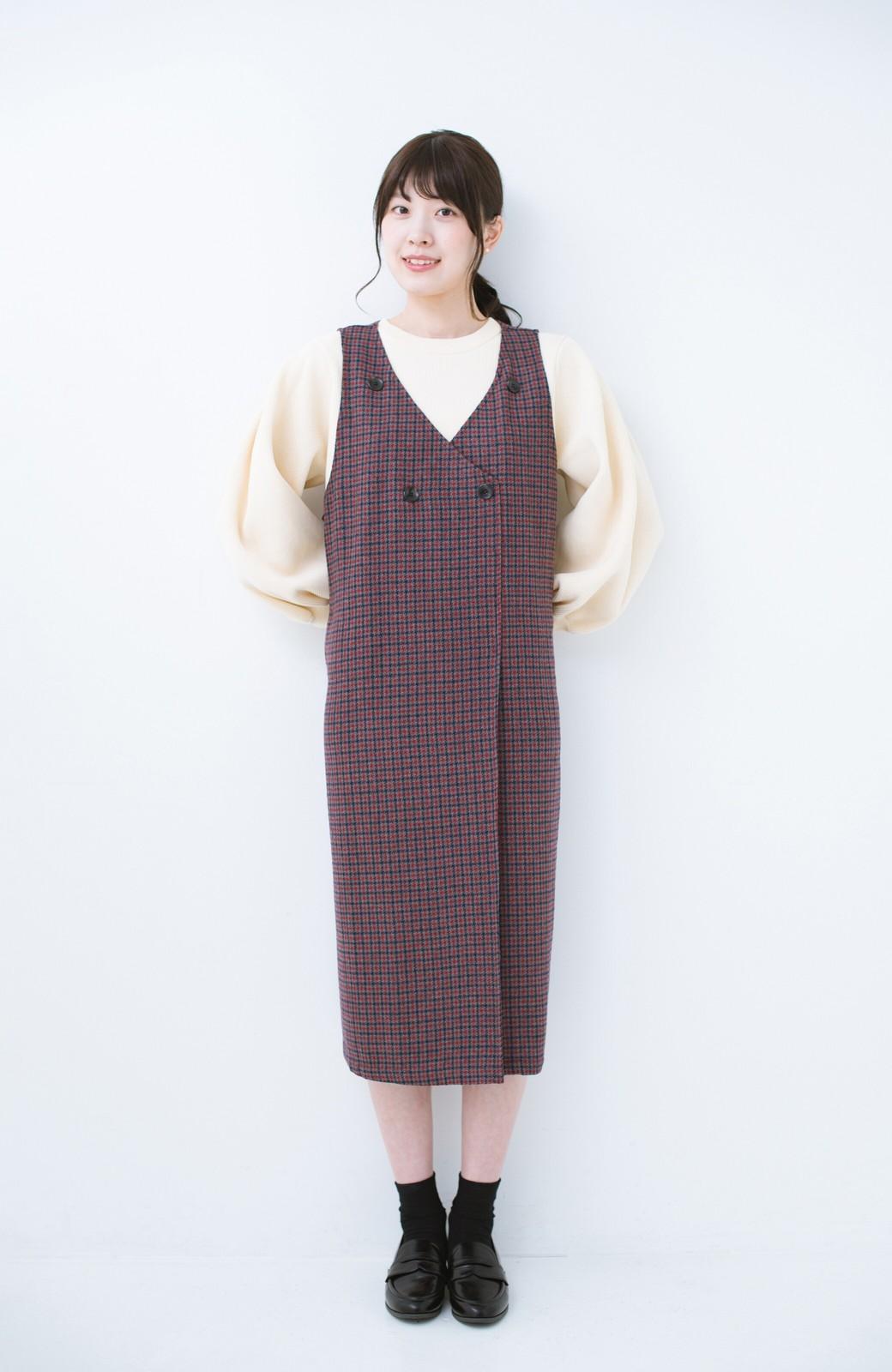 haco! すぽっと着るだけで旬顔完成 千鳥柄のジャンパースカート <レッド系その他>の商品写真7