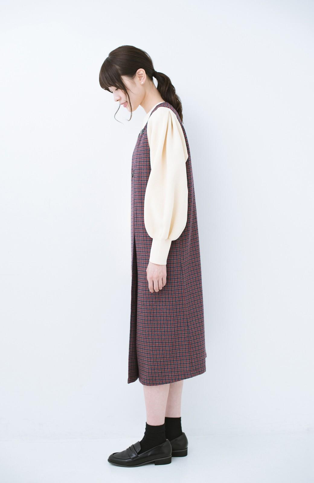 haco! すぽっと着るだけで旬顔完成 千鳥柄のジャンパースカート <レッド系その他>の商品写真9