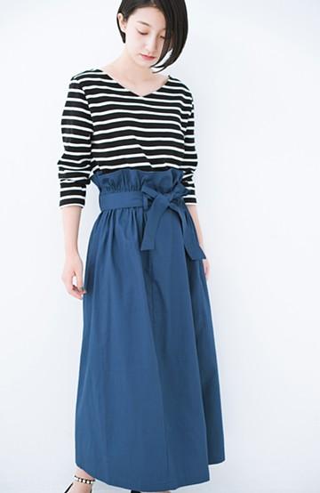 haco! パッと着てかわいい ウエストリボンの楽ちんスカート <ブルー>の商品写真