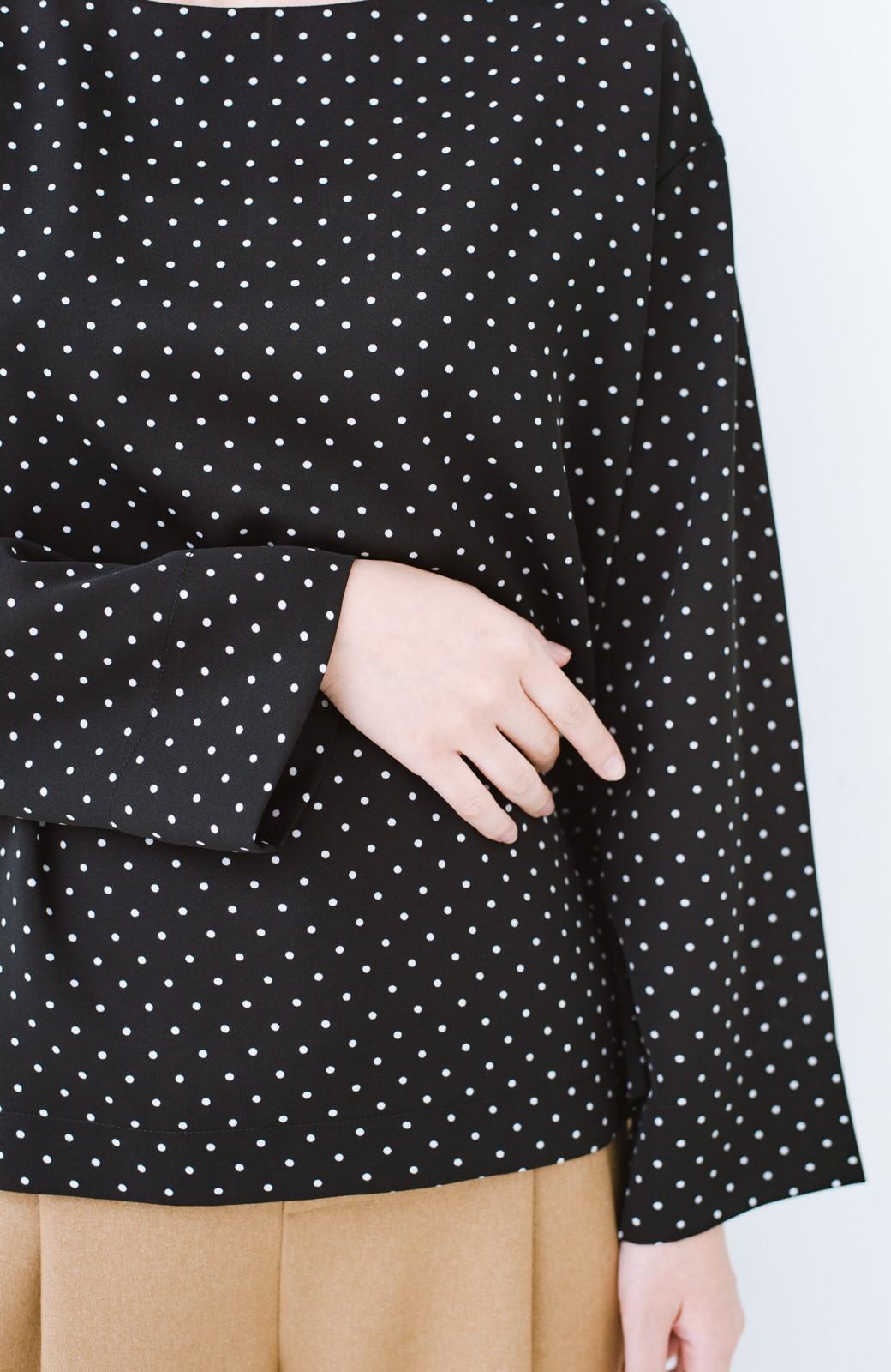 haco! パッと着て上品&きれい やっぱり便利なドットTブラウス <ブラック系その他>の商品写真4