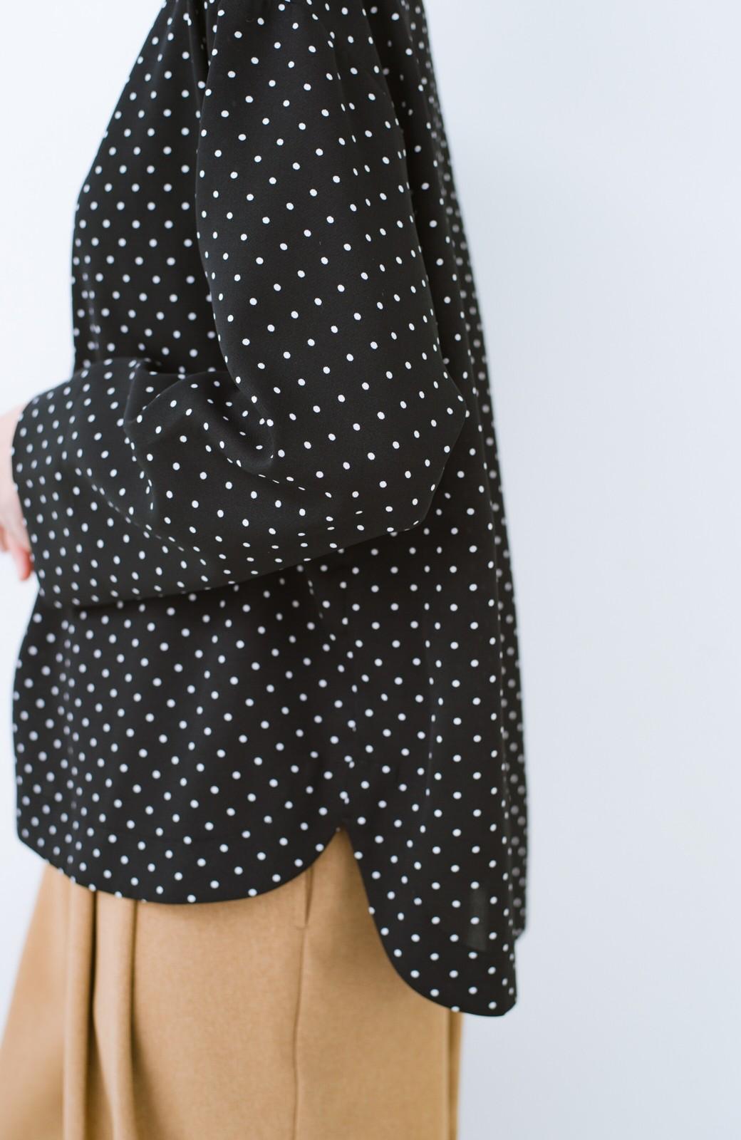 haco! パッと着て上品&きれい やっぱり便利なドットTブラウス <ブラック系その他>の商品写真5