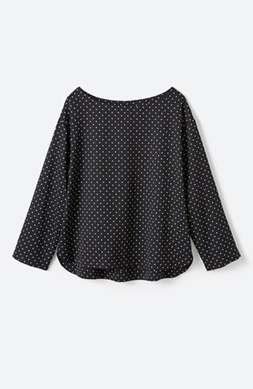 haco! パッと着て上品&きれい やっぱり便利なドットTブラウス <ブラック系その他>の商品写真