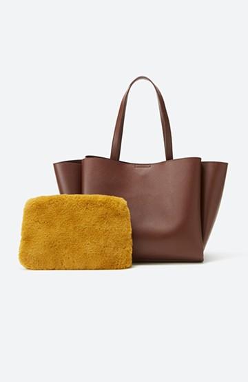 haco! 毎日づかいに便利な エコファーポーチ付きトートバッグ <ブラウン>の商品写真