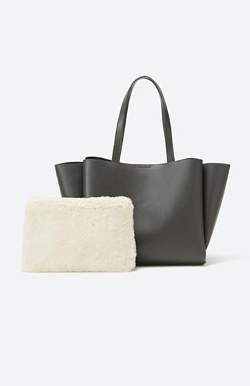 haco! 毎日づかいに便利な エコファーポーチ付きトートバッグ <グレー>の商品写真