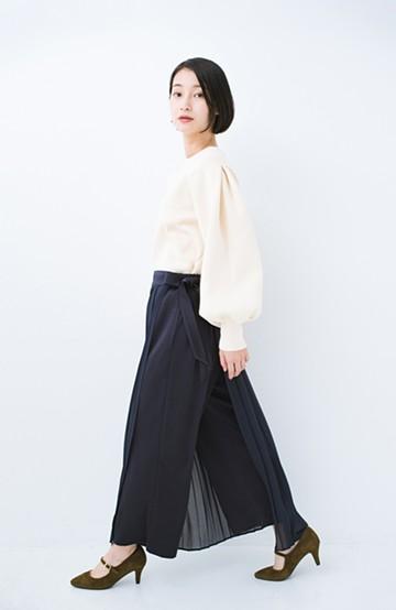 haco! パンツ派さんのデート着 プリーツスカート風にもなる華やかパンツセット <ネイビー>の商品写真