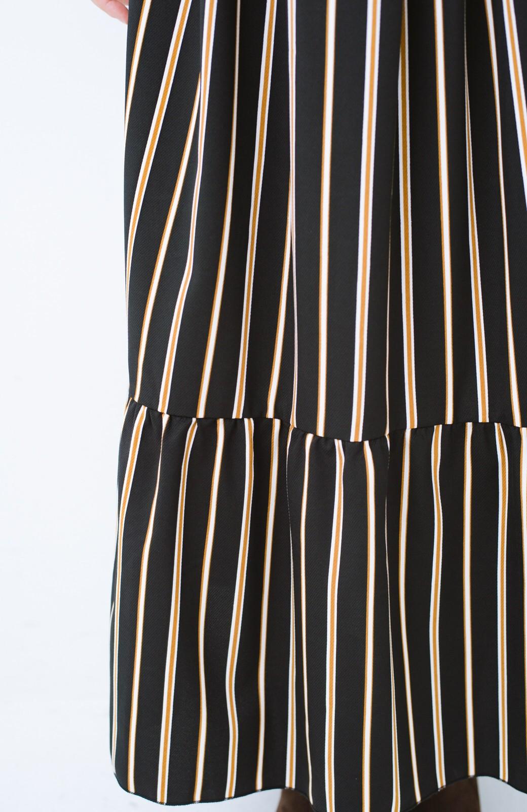 haco! 着るだけでテンション上げられる レジメンタルストライプのハイネックワンピース <ブラック>の商品写真6