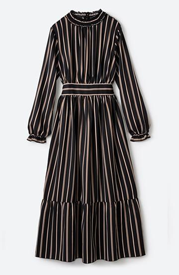 haco! 着るだけでテンション上げられる レジメンタルストライプのハイネックワンピース <ブラック>の商品写真