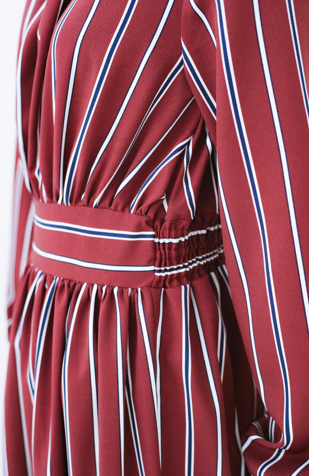 haco! 着るだけでテンション上げられる レジメンタルストライプのハイネックワンピース <ワインレッド>の商品写真7