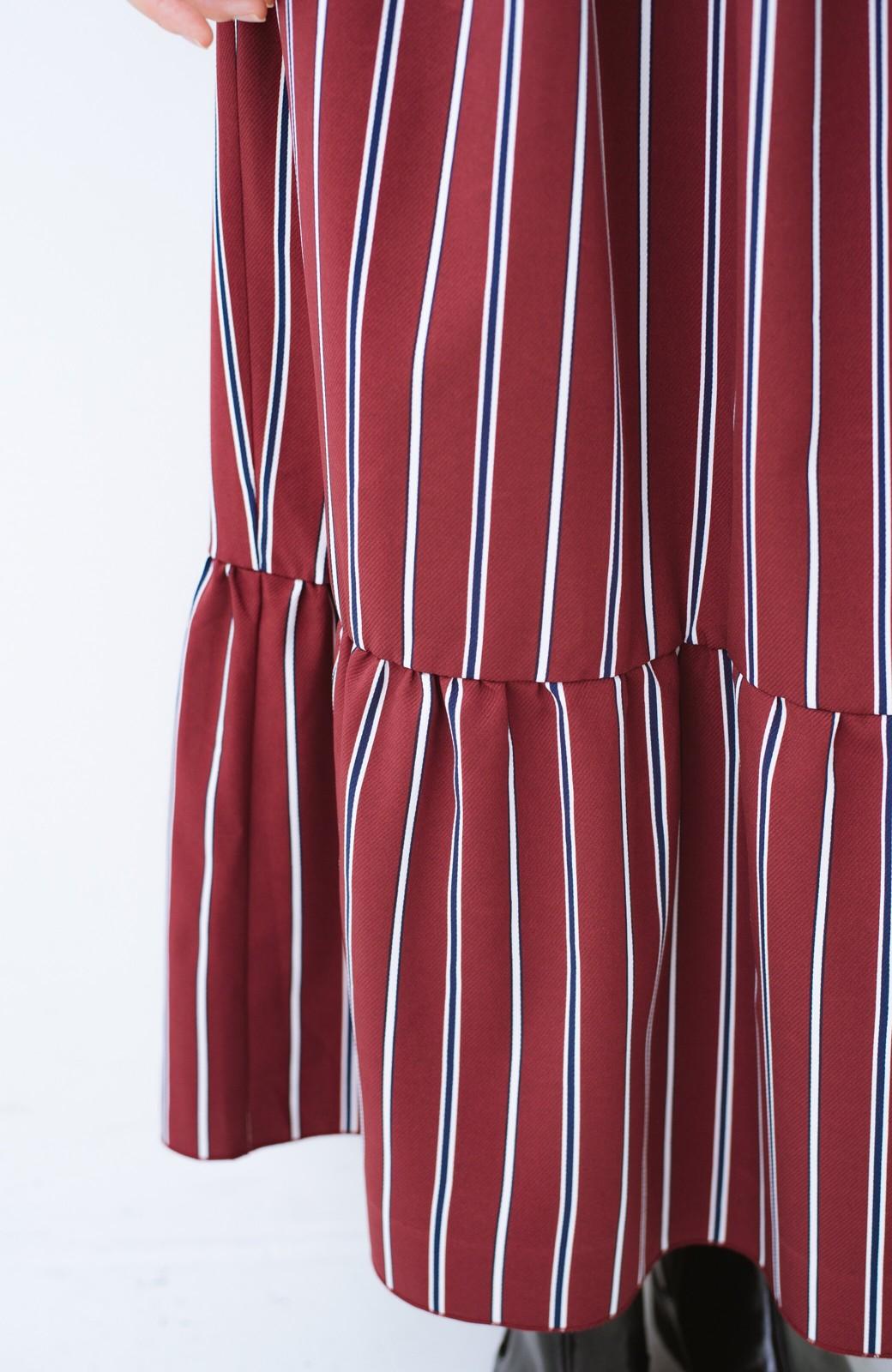 haco! 着るだけでテンション上げられる レジメンタルストライプのハイネックワンピース <ワインレッド>の商品写真8