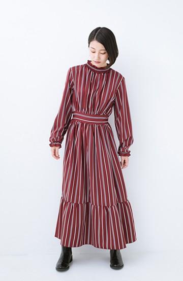haco! 着るだけでテンション上げられる レジメンタルストライプのハイネックワンピース <ワインレッド>の商品写真