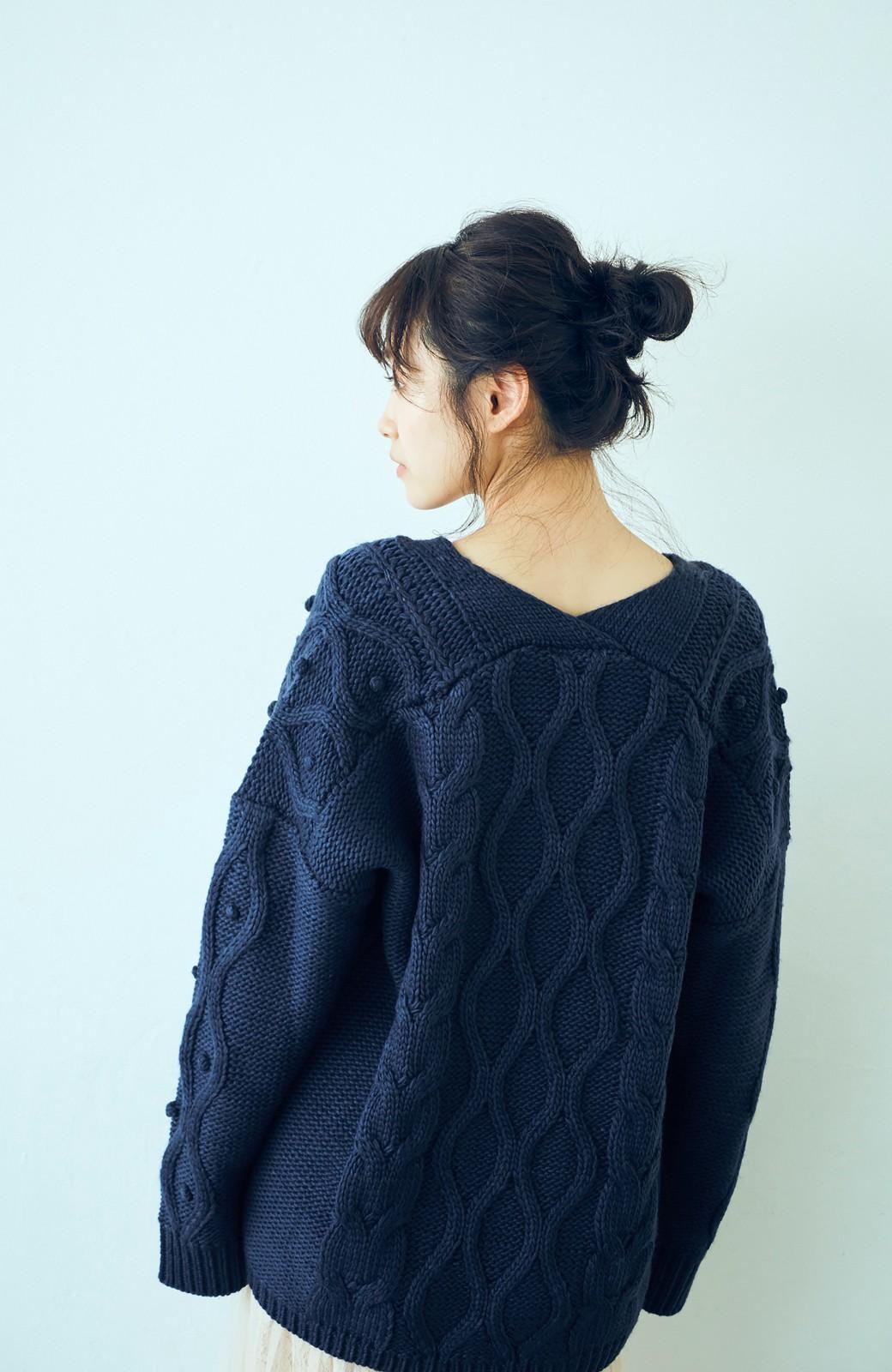 haco! <高橋愛さんコラボ>ラブ&ピースプロジェクト パプコーン編みのウエストマークケーブルニットトップス <ネイビー>の商品写真11