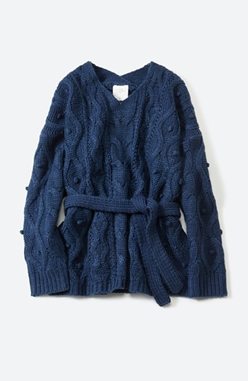 haco! <高橋愛さんコラボ>ラブ&ピースプロジェクト パプコーン編みのウエストマークケーブルニットトップス <ネイビー>の商品写真