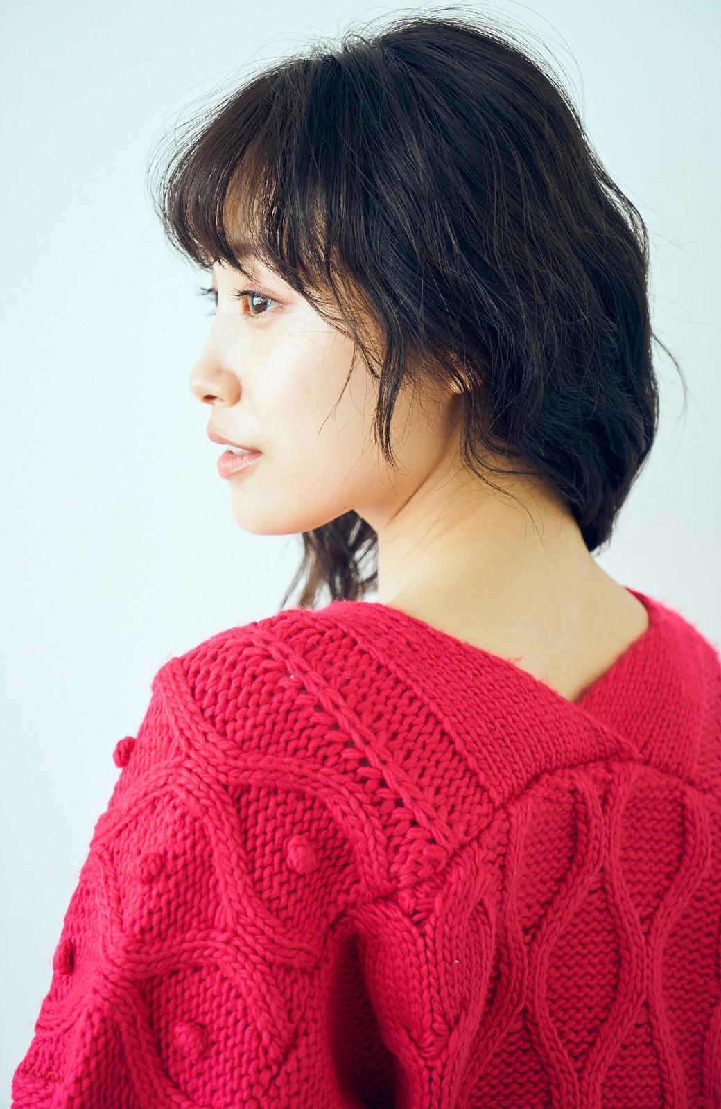 haco! <高橋愛さんコラボ>ラブ&ピースプロジェクト パプコーン編みのウエストマークケーブルニットトップス <ピンク>の商品写真11