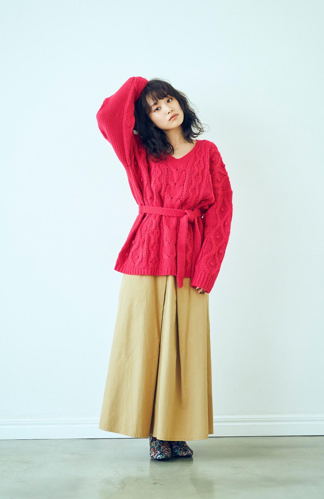 haco! <高橋愛さんコラボ>ラブ&ピースプロジェクト パプコーン編みのウエストマークケーブルニットトップス <ピンク>の商品写真7