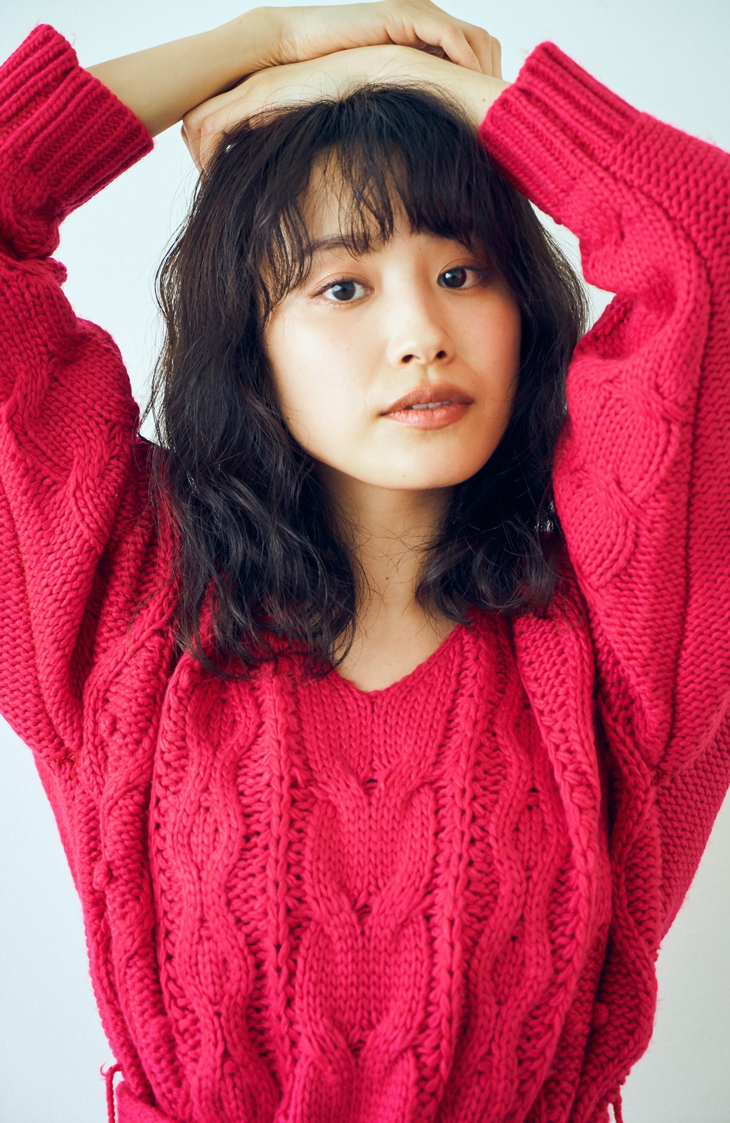 haco! <高橋愛さんコラボ>ラブ&ピースプロジェクト パプコーン編みのウエストマークケーブルニットトップス <ピンク>の商品写真9